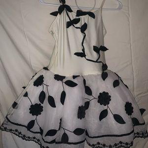 Black, white fluffy ballet costume